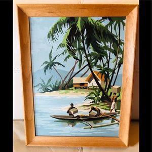 VTG Paint By Number Painting Hawaii Tropical Luau